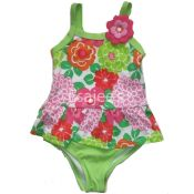 Gymboree Girl Swimsuit Floral Print Green