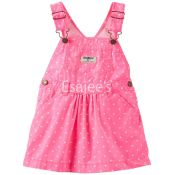 Oshkosh Girls Polka Dot Poplin Jumper Dress Pink