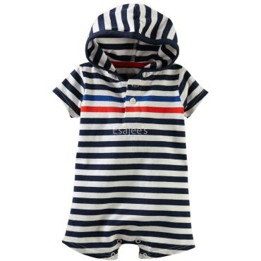 Oshkosh Boys Striped Hooded Romper