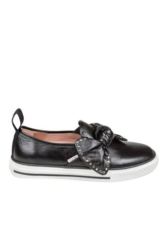 Red Valentino Slip On Black Leather With Floor