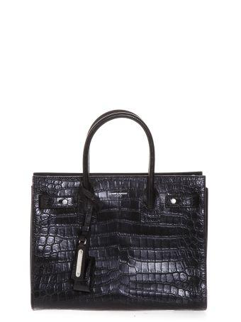 Saint Laurent Small Supple Sac De Jour Bag In Black Crocodile Embossed Leather
