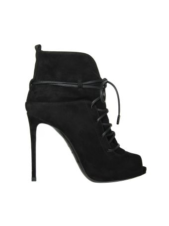 Le Silla Black String Velour Ankle Boots