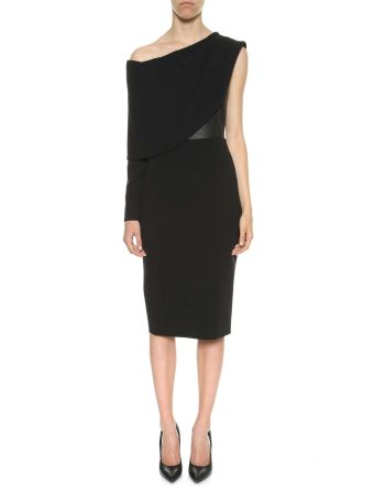 Tom Ford Cocktail Dress In Silk Crepe And Leather