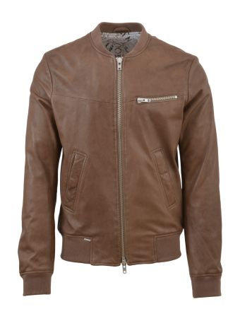 S.W.O.R.D. Beige Leather Bomber