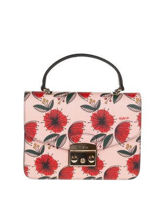 Furla Hand Bag Metropolis S Leather Multicolor With Motive Papavero