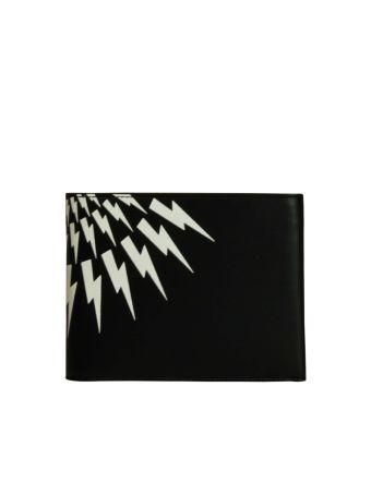 Black Lightning Logo Print Classic Wallet