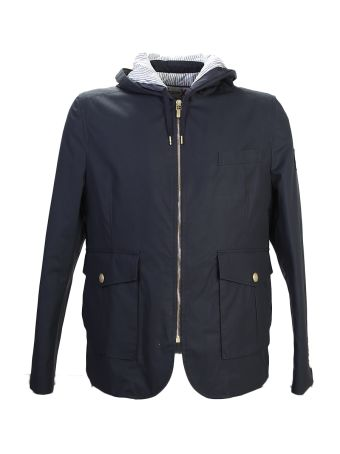 Blue Cotton Jacket With Hood