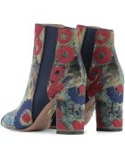 Multicolor Velvet Heeled Ankle Boots