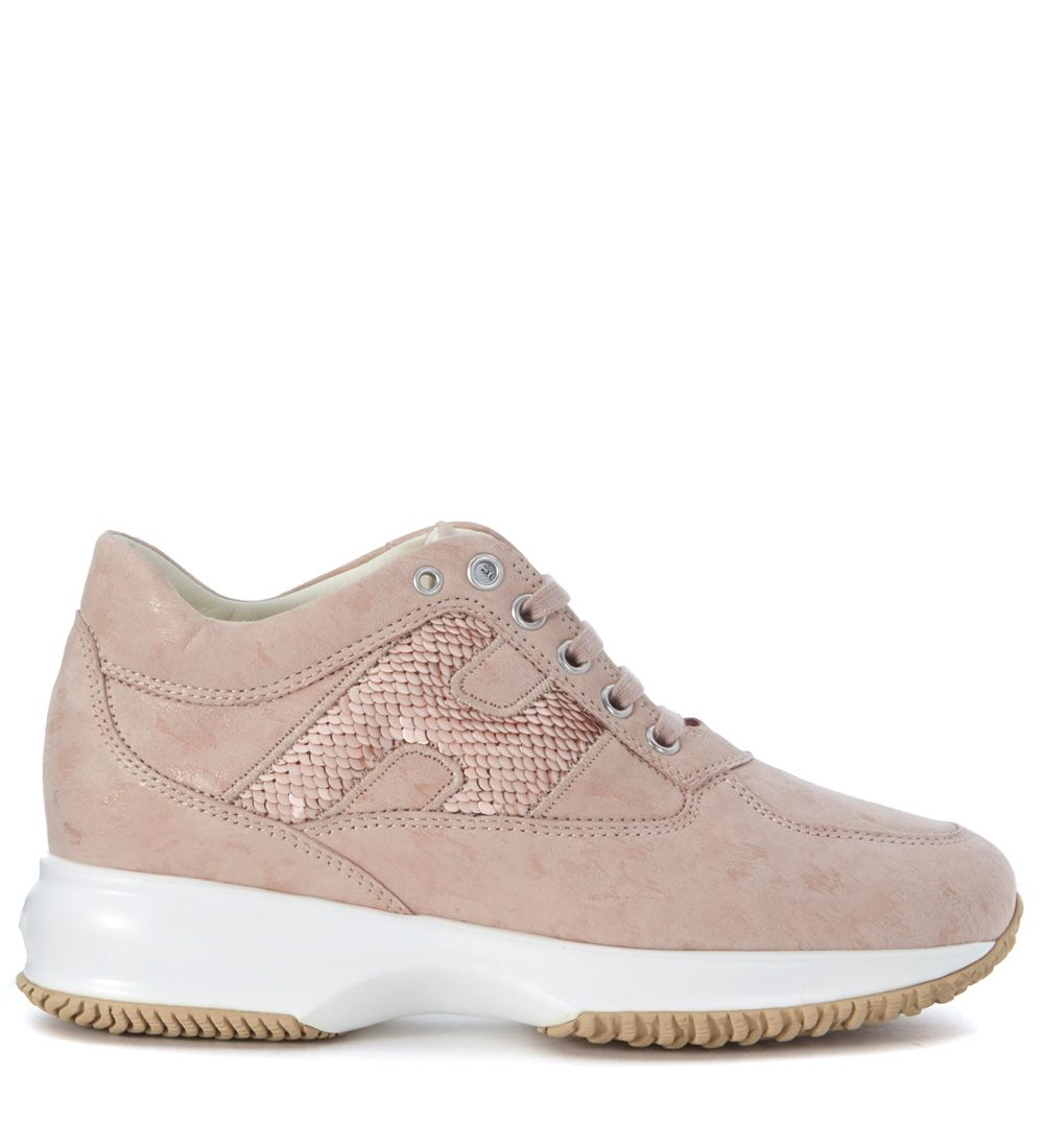 Hogan Interactive Pale Pink Suede Sneaker With Microsequins