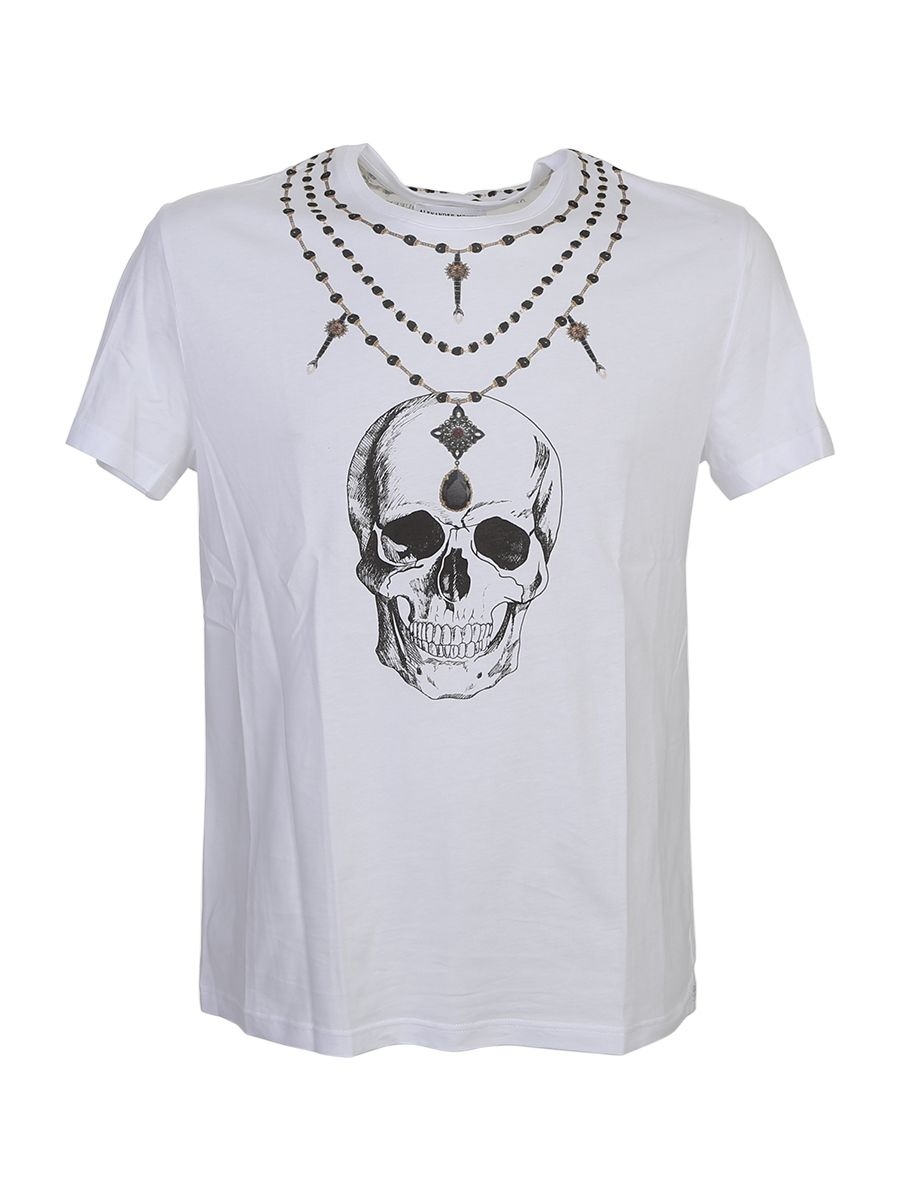 Necklace And Skull Printed White Cotton T-shirt