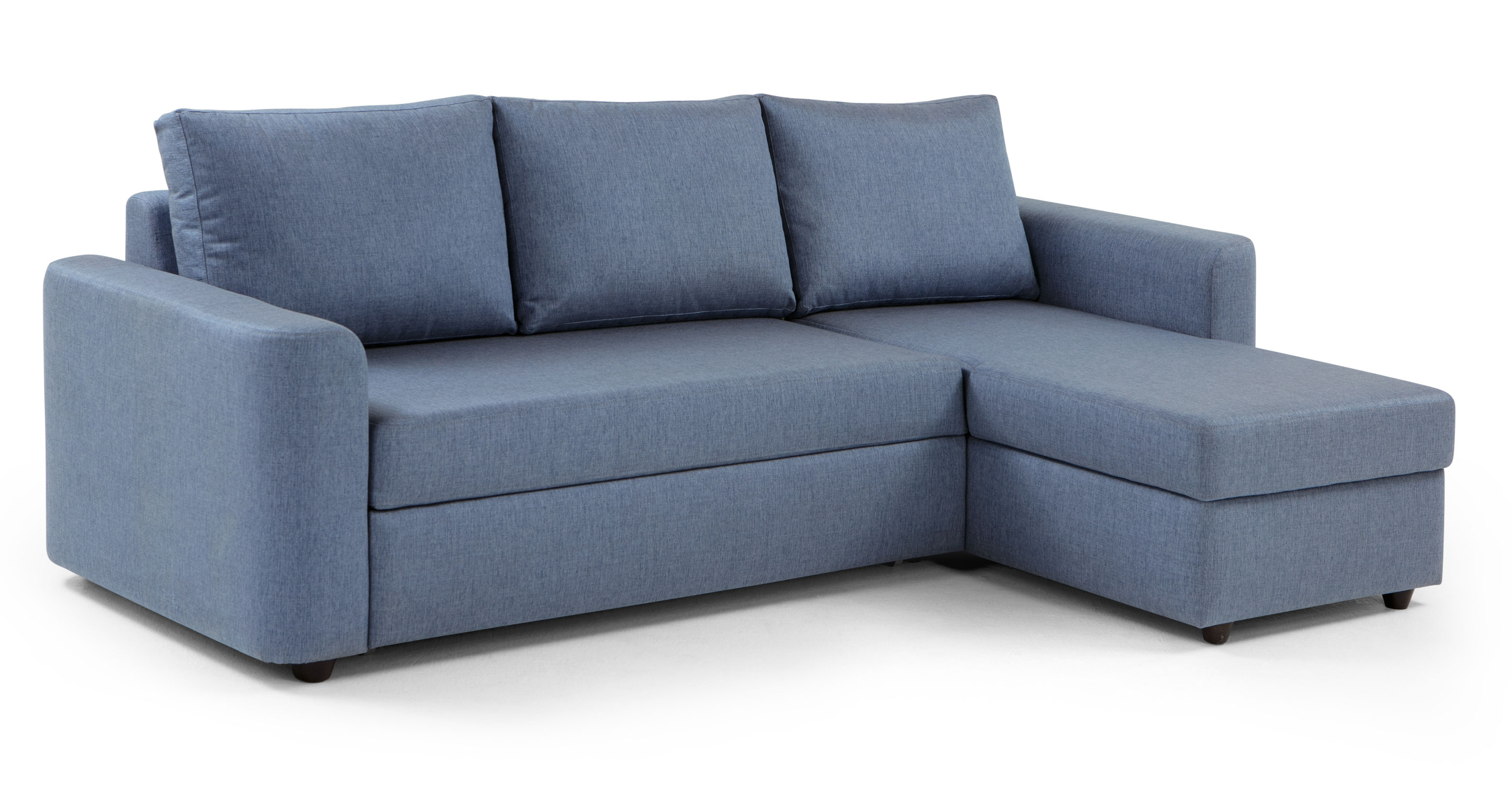 Albie Right Hand Facing Corner Storage Sofa Bed Denim Haze: denim loveseat