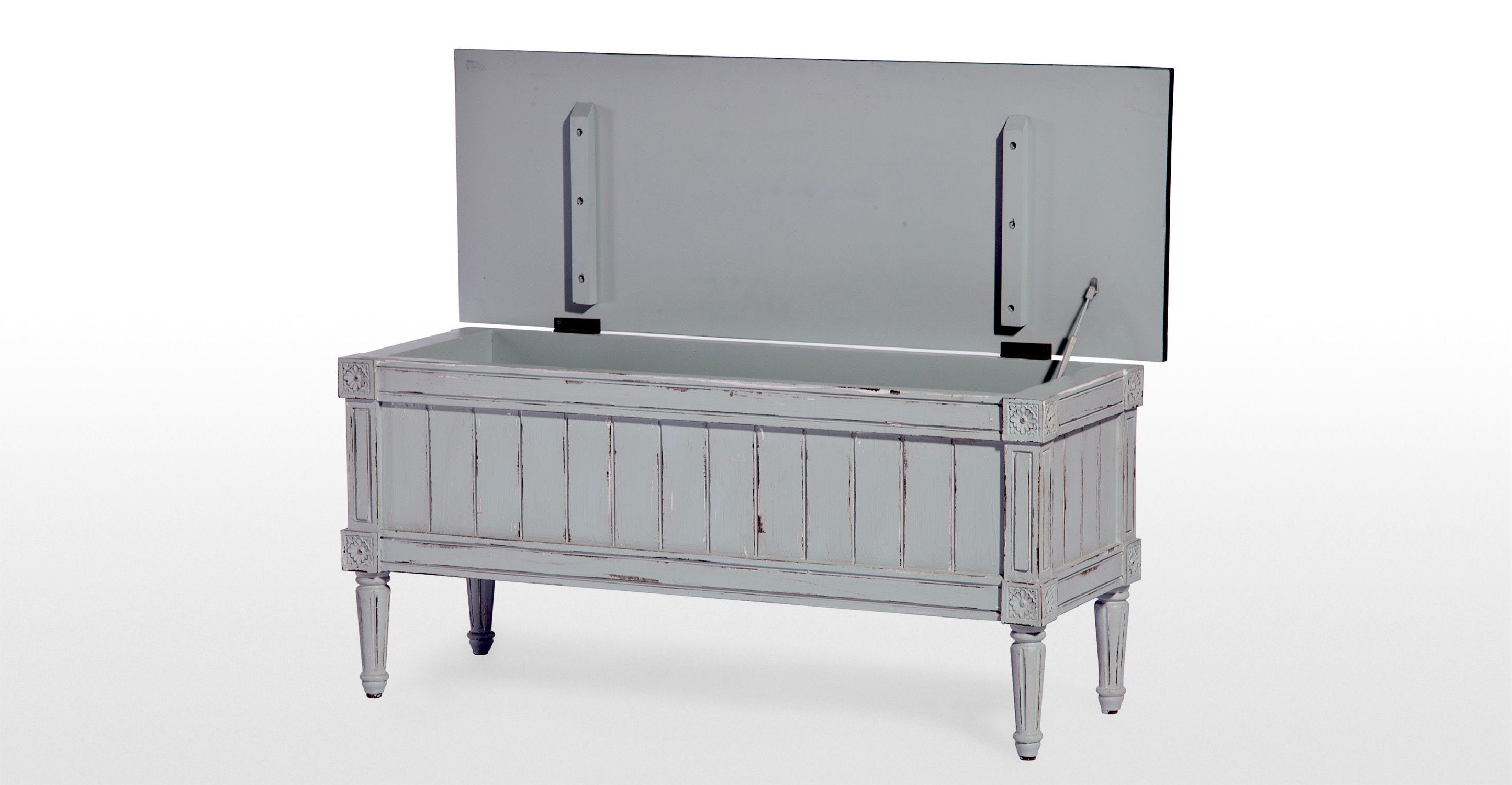 Bourbon Distressed Grey Vintage Storage Bench