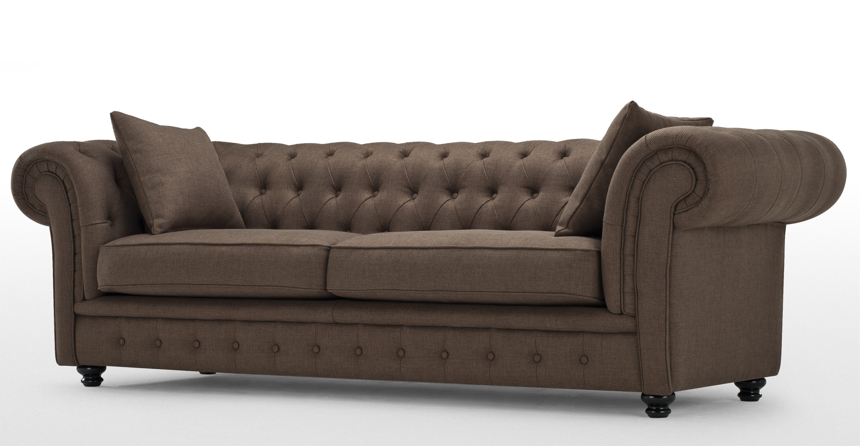 branagh 3 seater brown chesterfield sofa. Black Bedroom Furniture Sets. Home Design Ideas