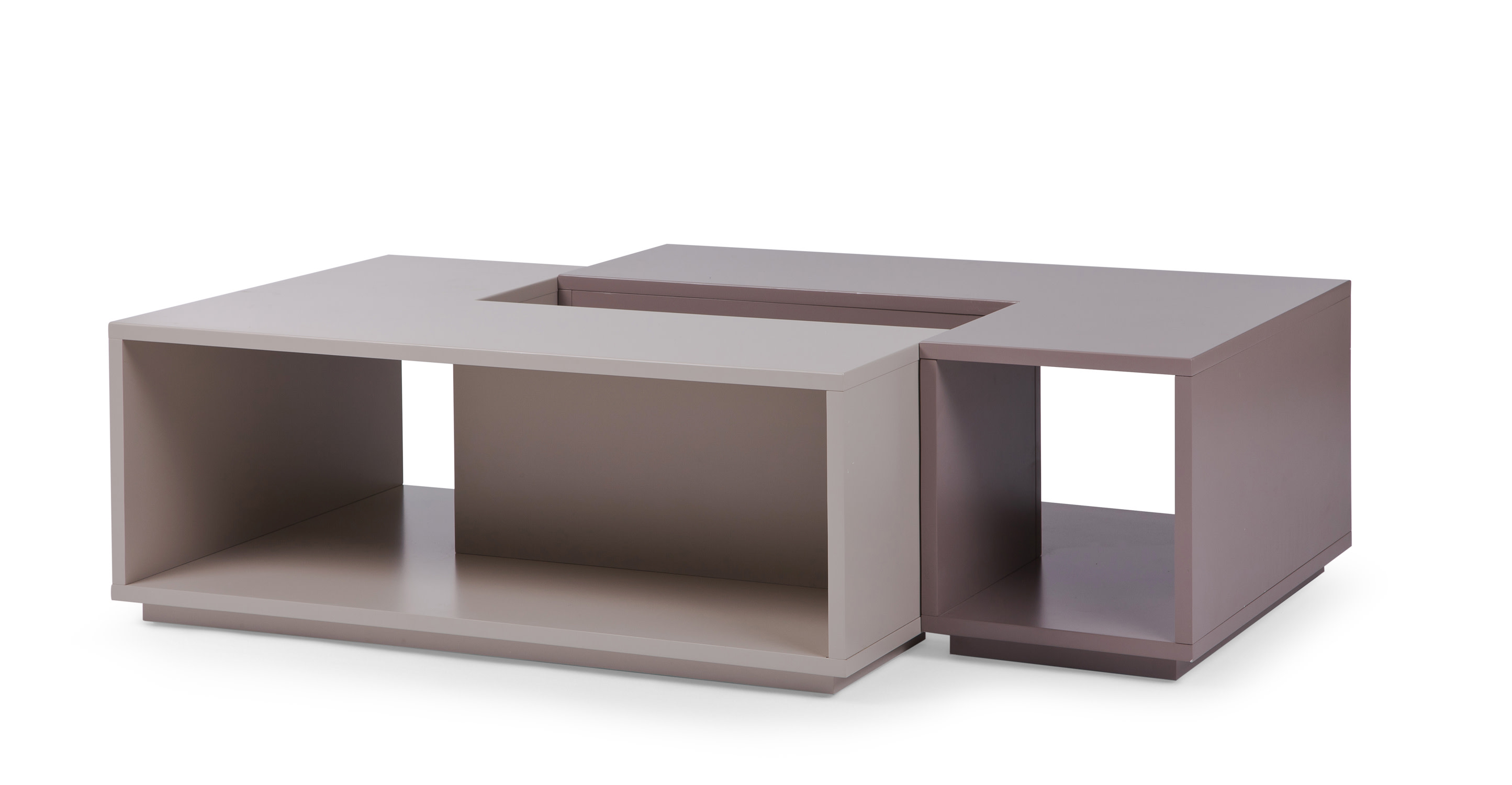 Link Modular Storage Coffee Table In Grey And Taupe