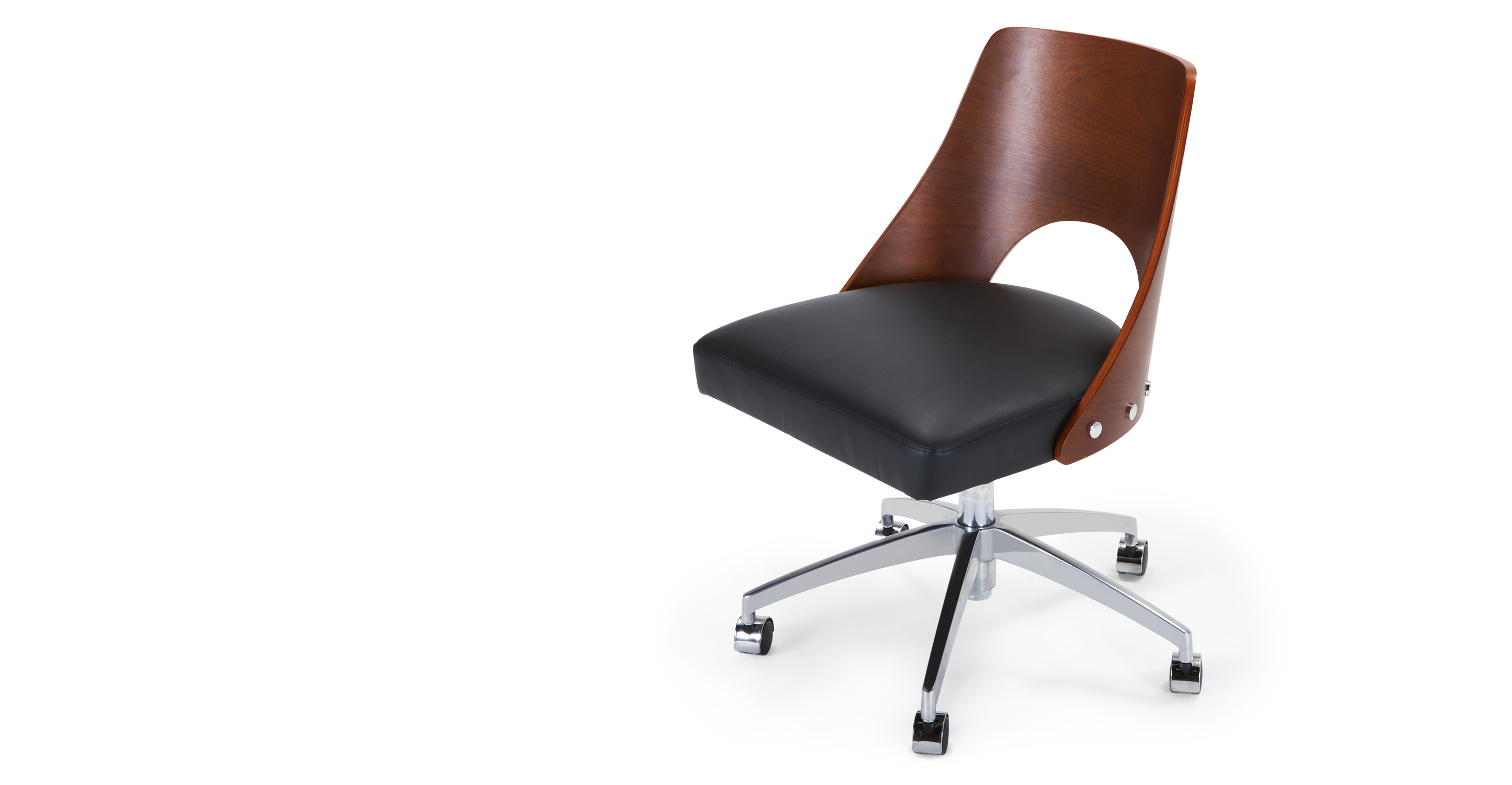 hailey swivel office chair walnut and black