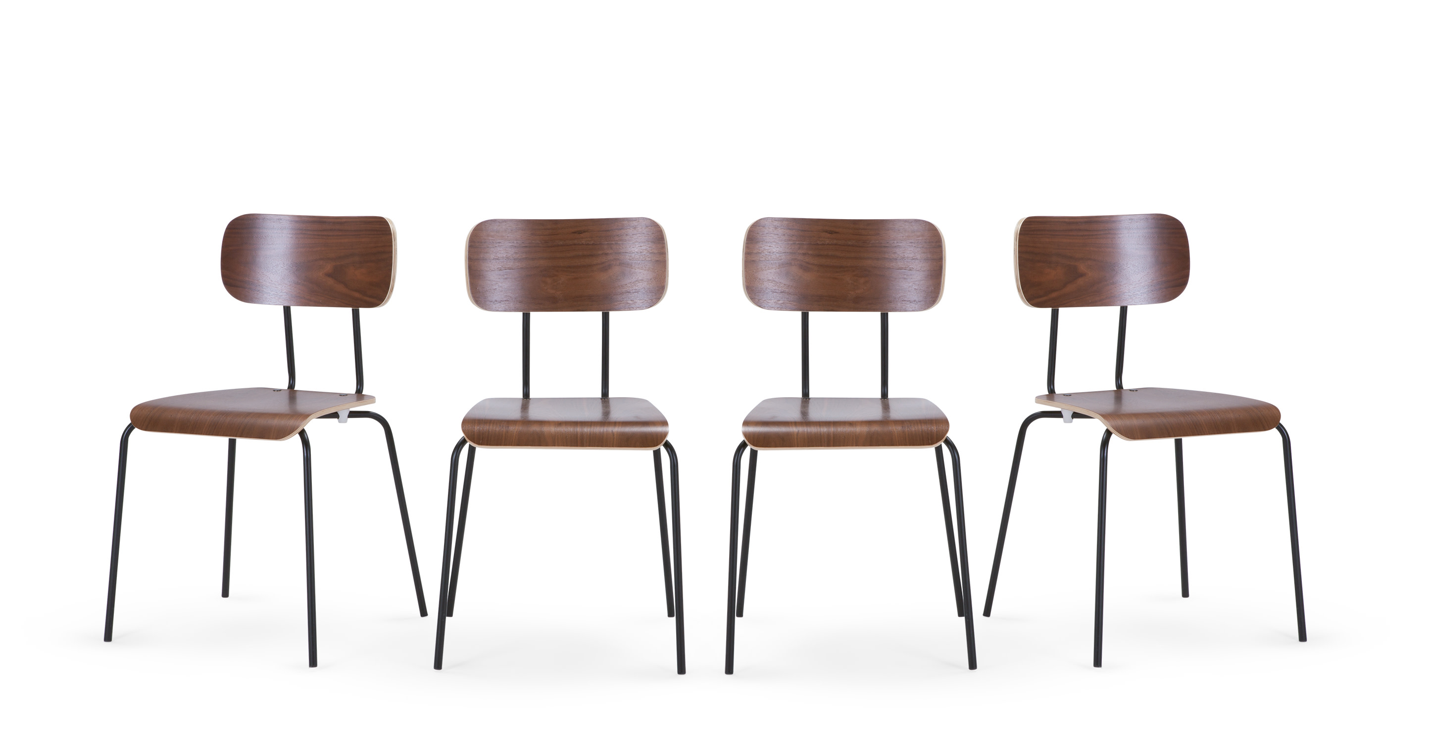 4 x Haywood Dining Chairs Walnut and Black