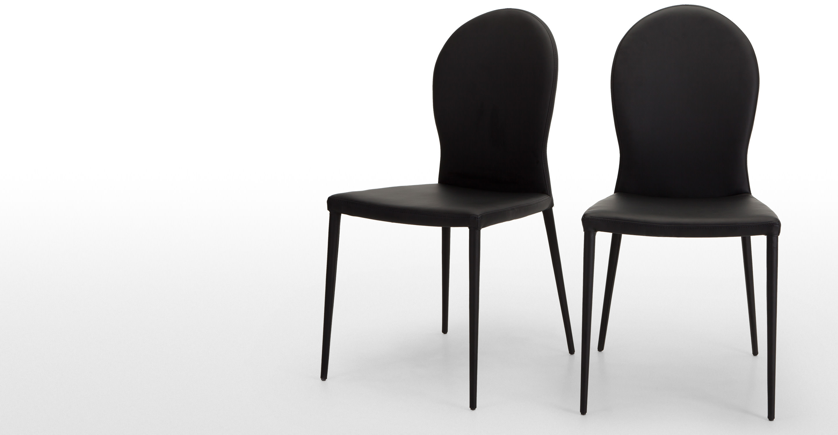 Pair of herzog dining chairs in black for Made dining chairs