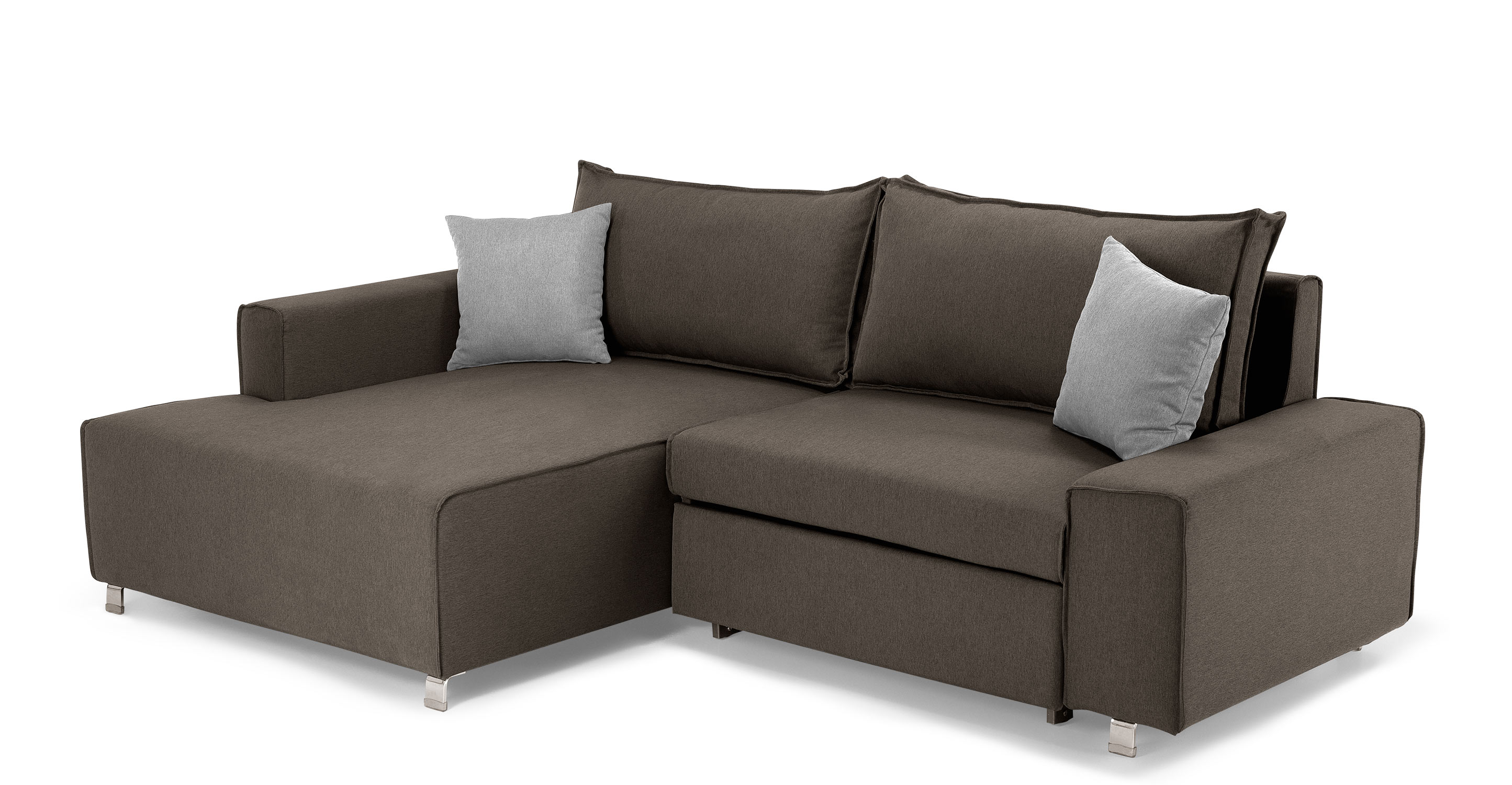 Mayne Left Hand Facing Corner Sofa Bed Dark Grey