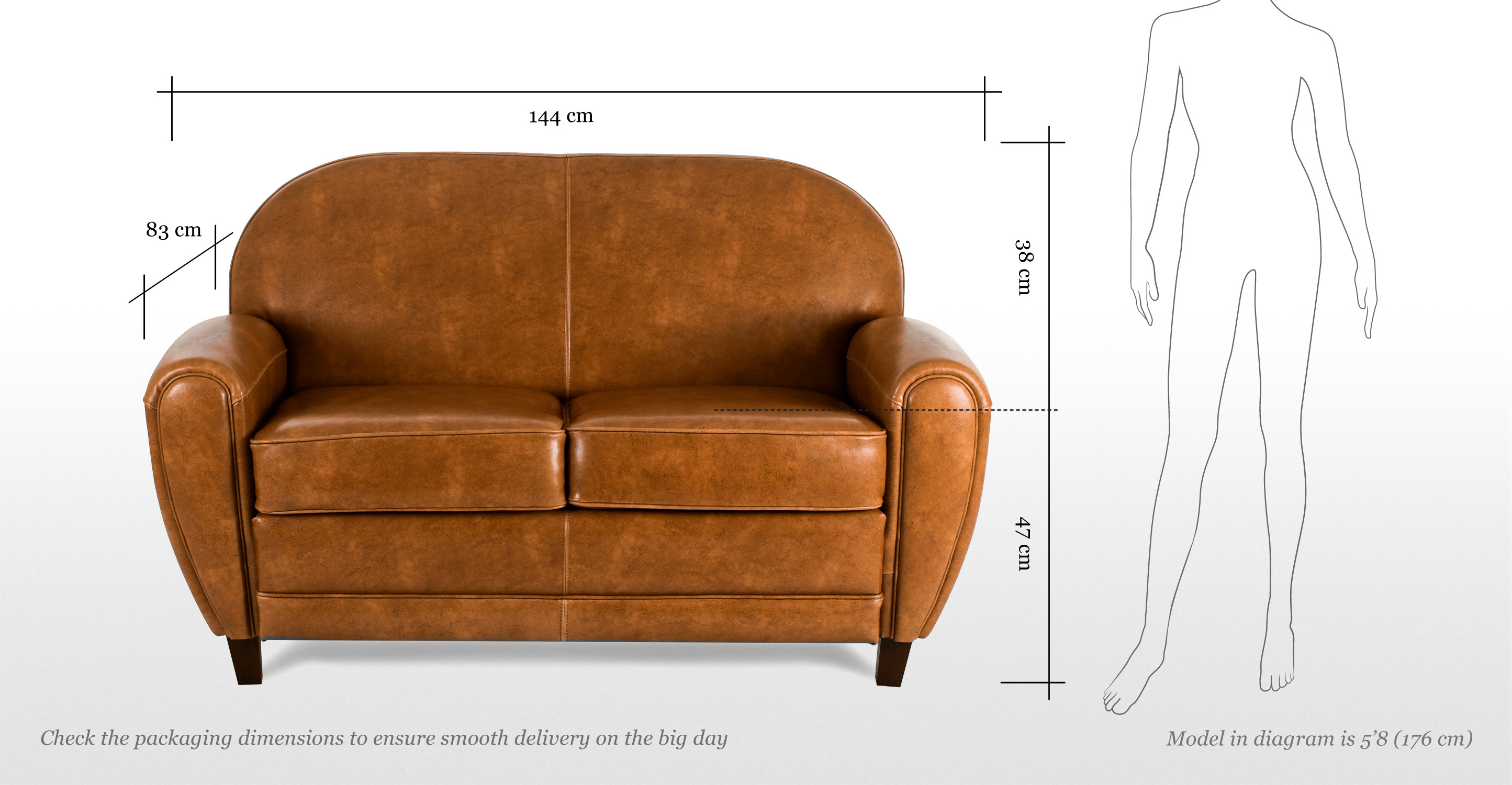 Jazz club 2 seater sofa in cognac for Canape club cuir convertible