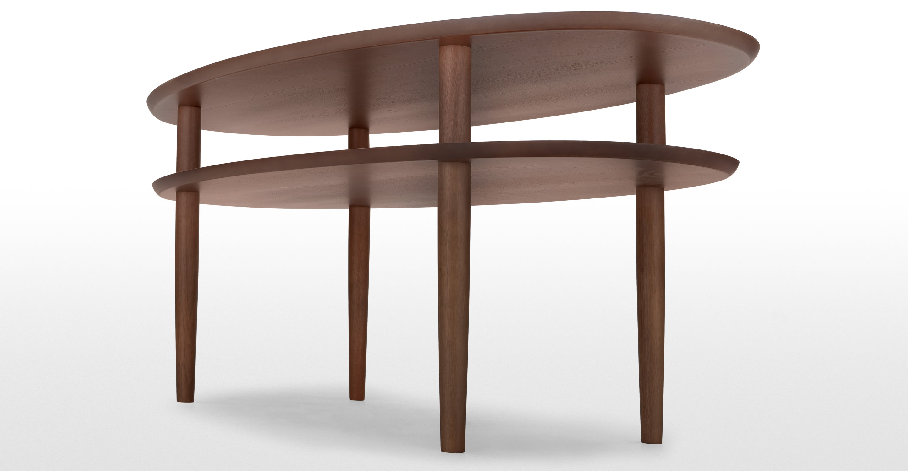 Aden Oval Coffee Table With Storage In Walnut