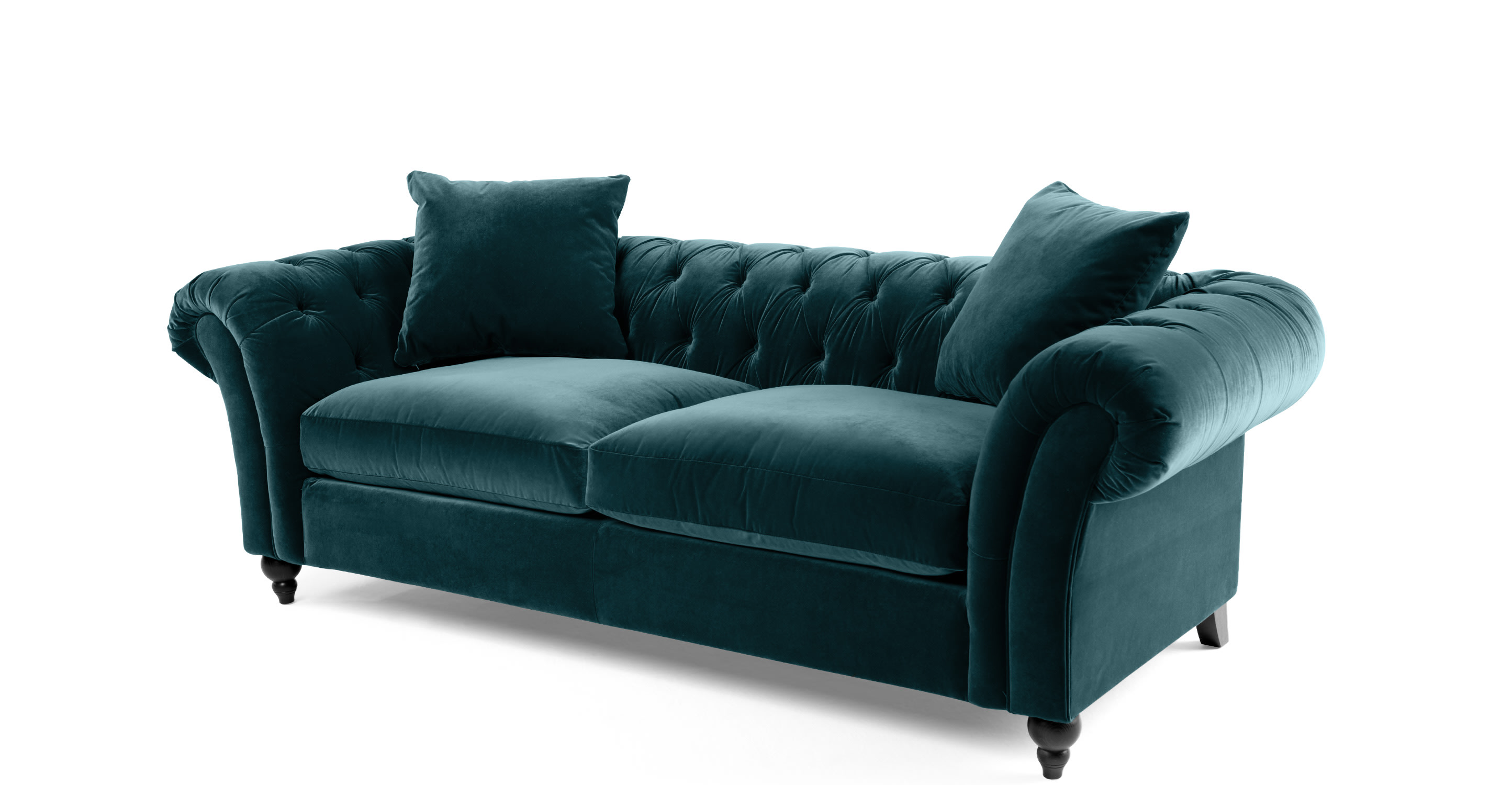 bardot 3 sitzer chesterfield sofa ozeanblauer samt. Black Bedroom Furniture Sets. Home Design Ideas