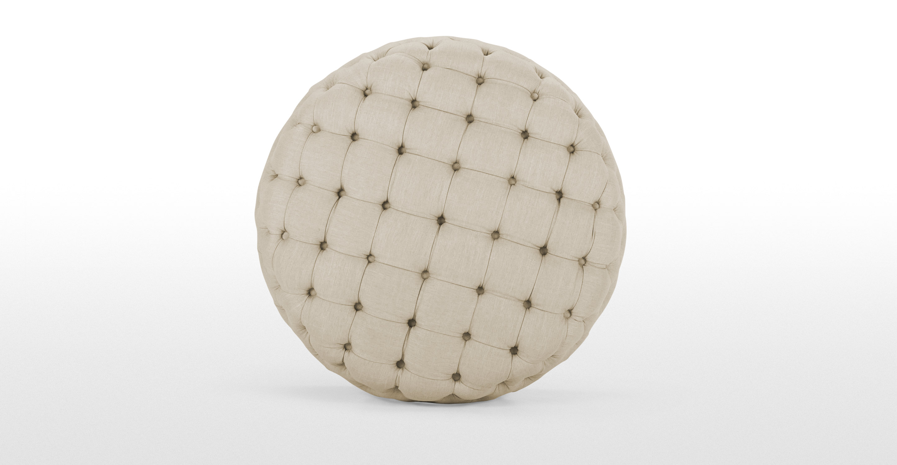 Blakes Large Round Ottoman In Biscuit Beige