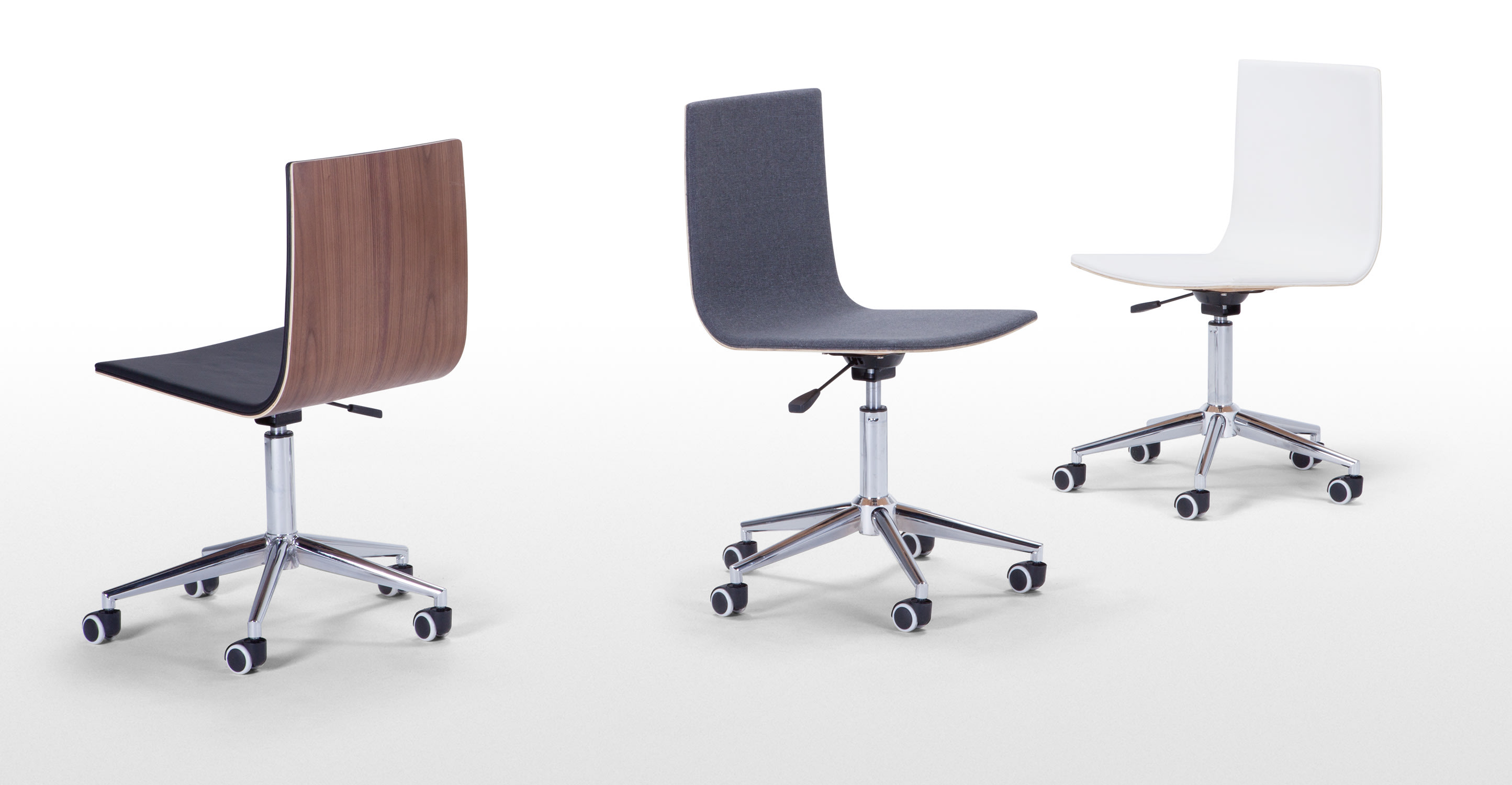 dolly office chair walnut and black