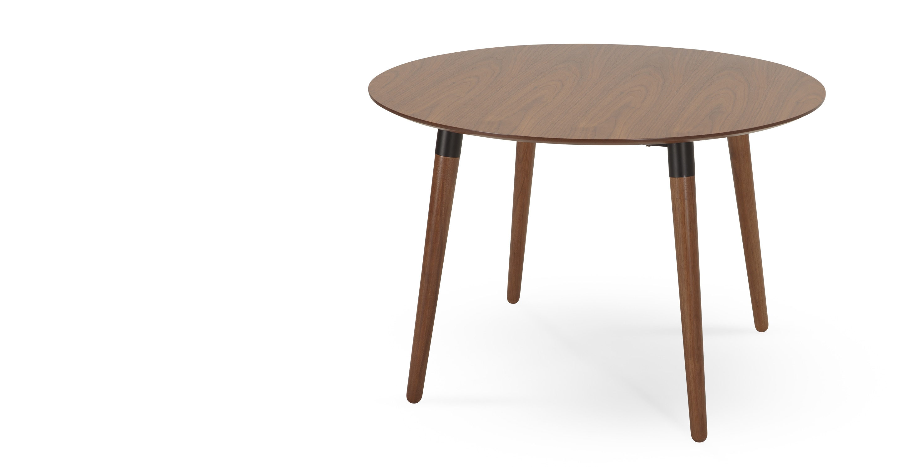 Edelweiss round dining table walnut and black for Black round dining table