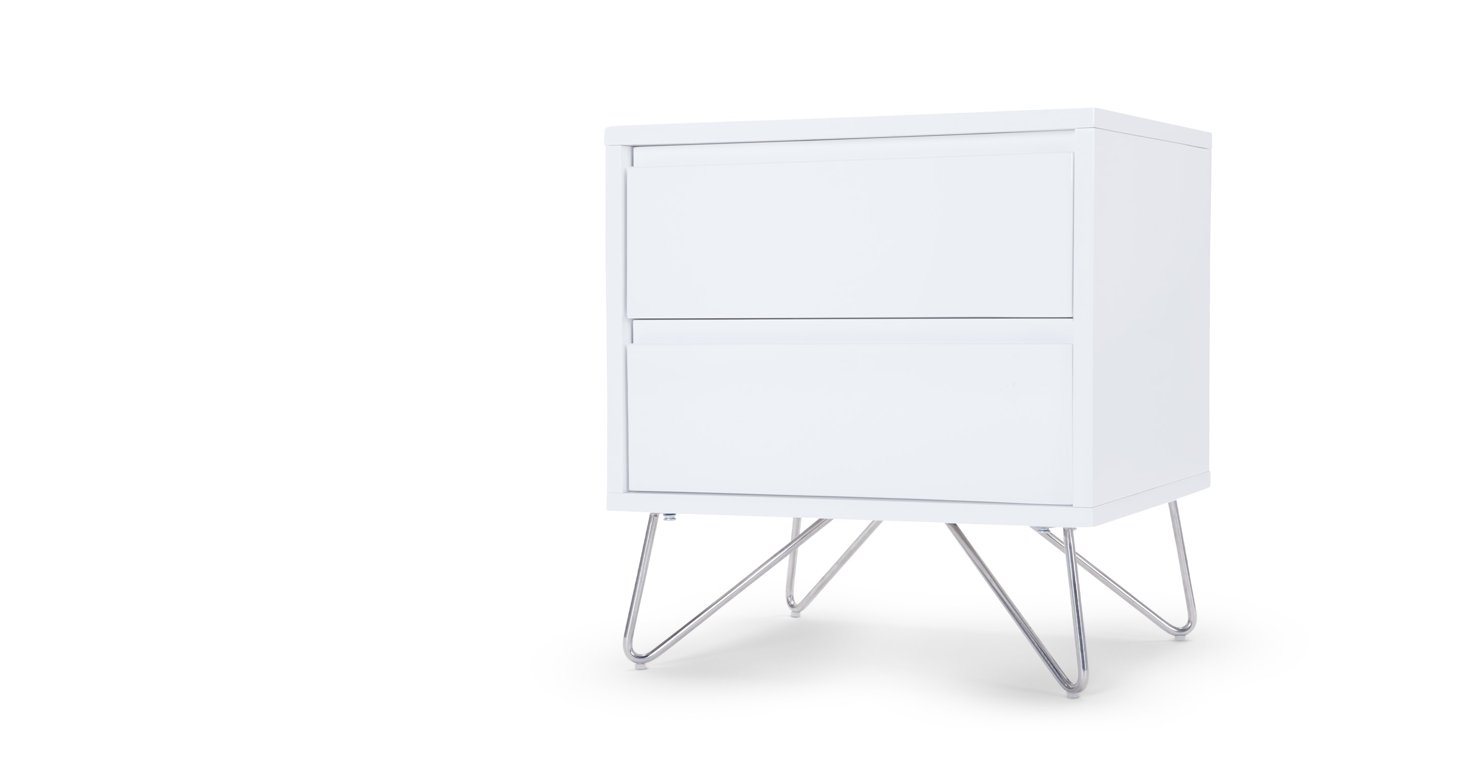Elona bedside table white gloss for Tables de chevet blanches