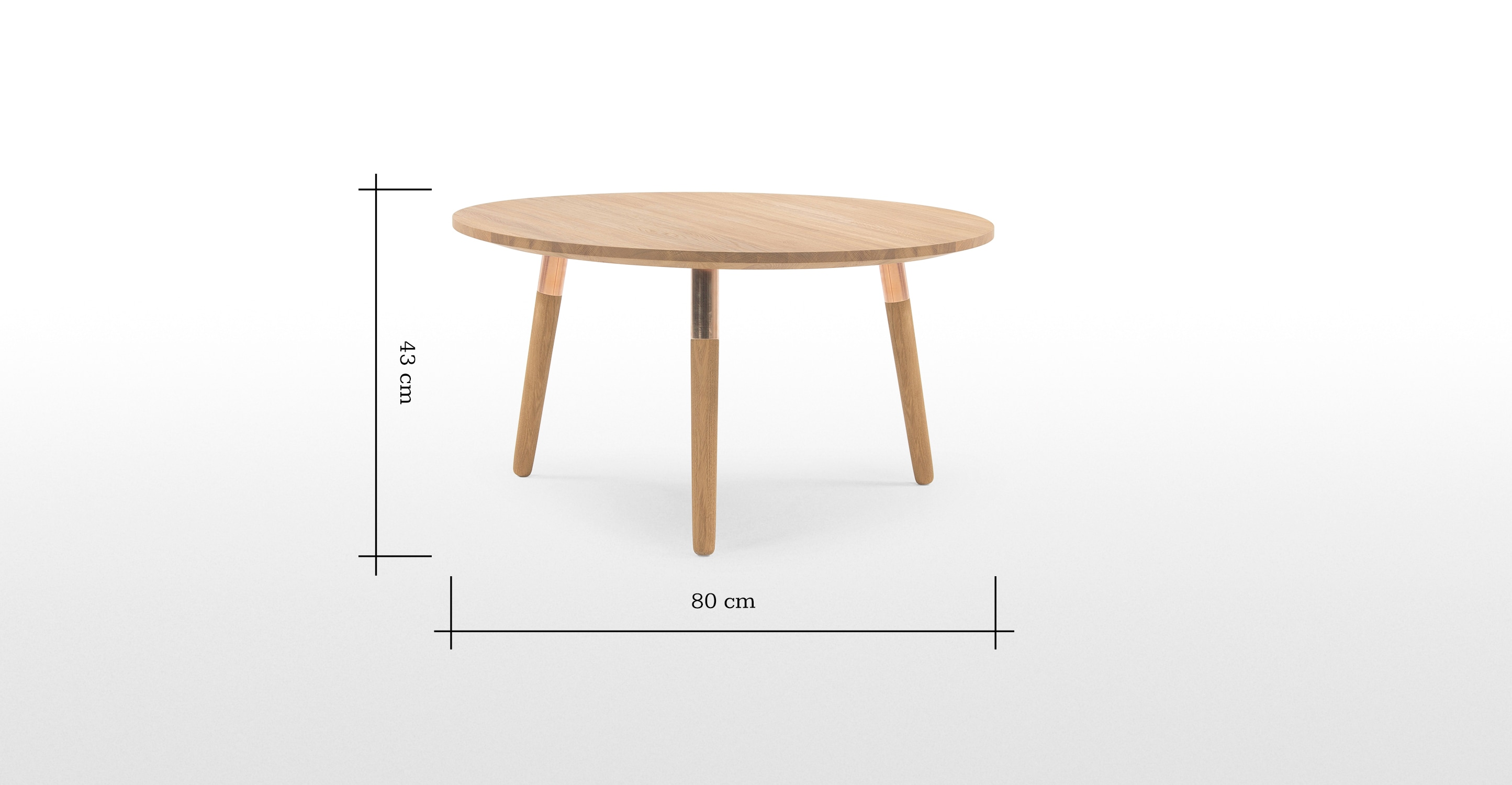 Range round coffee table solid oak and copper for Table basse round