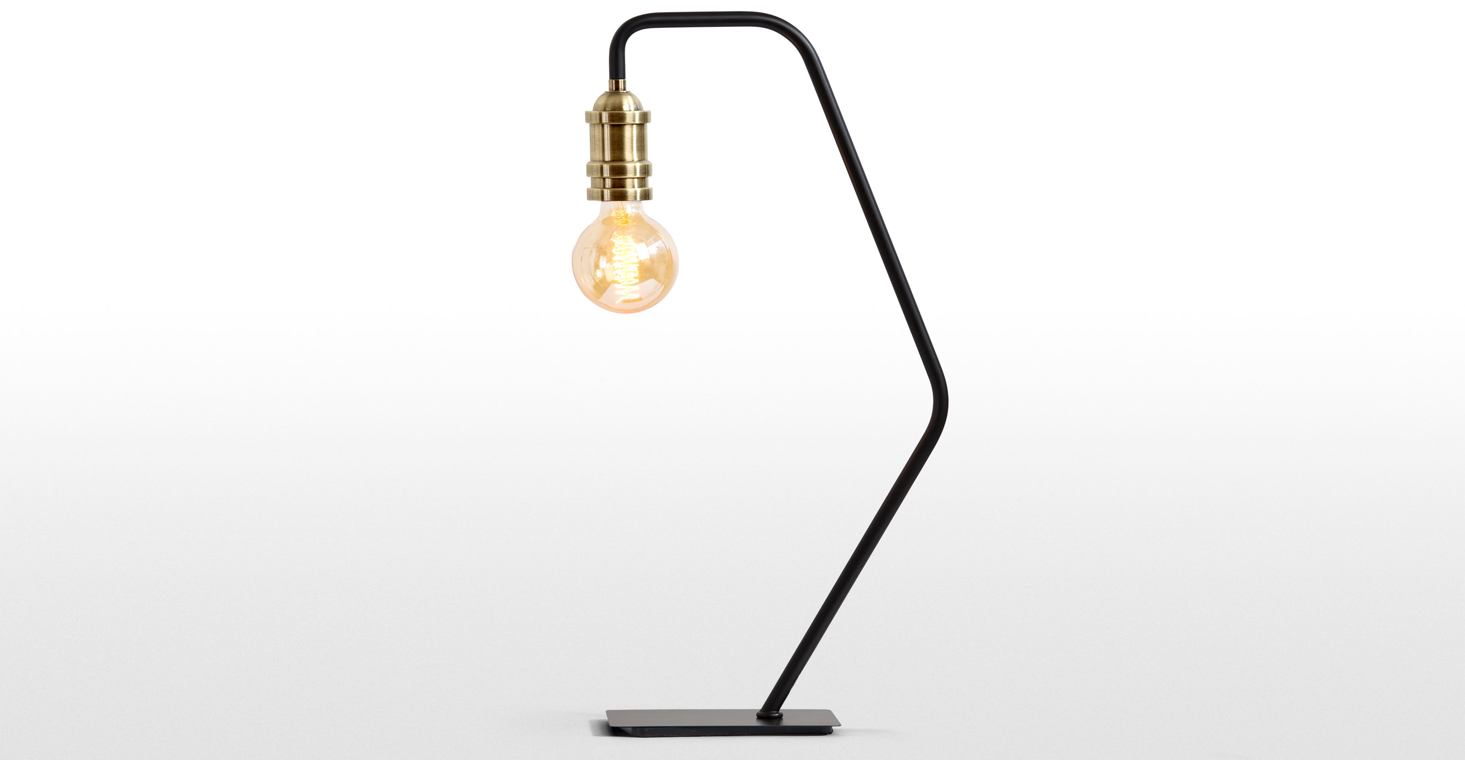 Starkey Wall Lamp Black And Brass : Starkey Table Lamp, Black & Brass made.com