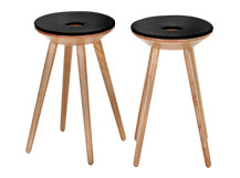 2 x Kitson Stools, Natural Wood and Black