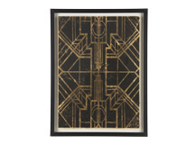 Ellis Art Deco I Gilt Print, 40 x 55cm, Limited Edition by Coup D'Esprit, Gold and Black