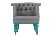 Bouji Chair, Graphite Grey and Turquoise Blue
