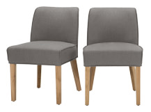 2 x Falan Dining Chairs, Graphite Grey with Natural Oak Leg