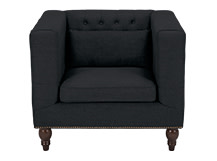 Flynn Square Armchair, Midnight Black