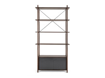 Gino Shelves with Storage, Dark Stain Ash and Grey