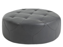 Scott Large Round Ottoman, Oxford Grey Premium Leather