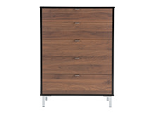 Latymer Chest of Drawers, Walnut Effect and Black Gloss