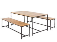 Lomond Dining Table Set, Mango Wood and Black