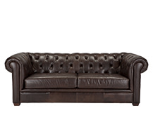 Mayson Chesterfield 3 Seater Sofa, Antique Brown Premium Leather