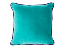Mya Cotton Velvet Cushion 50cm x 50cm, Teal with Purple Piping
