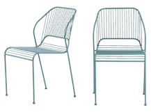 2 x Nazca Outdoor Dining Chairs, Graphite Blue