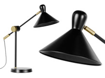 Ogilvy Task Table Lamp, Matt Black and Antique Brass