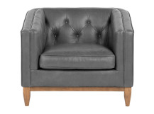 Rogers Armchair, Oxford Grey Premium Leather