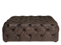 Scott Large Square Ottoman, Brown Premium Leather