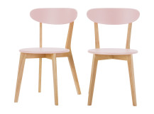 2 x Fjord Dining Chairs, Oak and Blush Pink