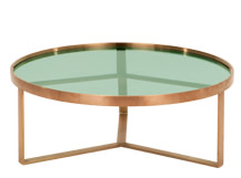Aula Coffee Table, Brushed Copper and Green Glass