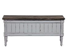 Bourbon Vintage Storage Bench, Distressed Grey