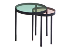 Chroma Nesting Coffee Table, Green and Pink